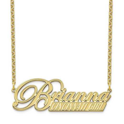 10XNA972Y: 10 Karat Yellow Gold Name and Bar Necklace