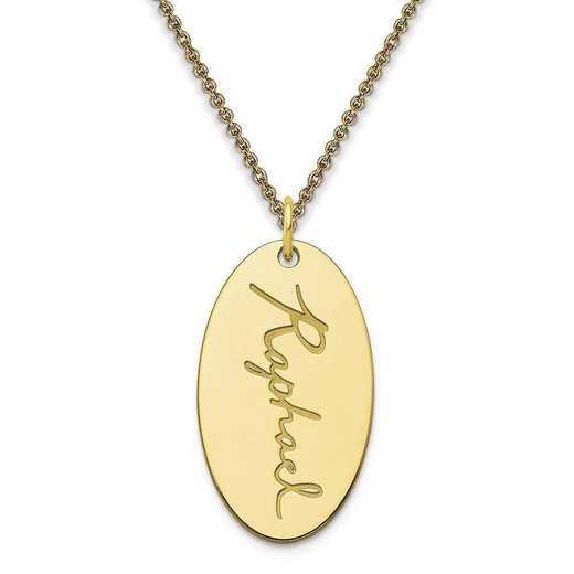 10XNA973Y: 10 Karat Yellow Gold Oval Script Name Charm