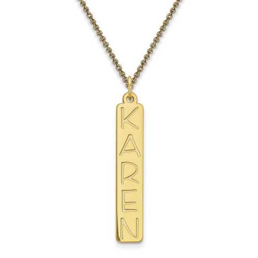 10XNA99Y: 10 Karat Yellow Gold Vertical Name Plate