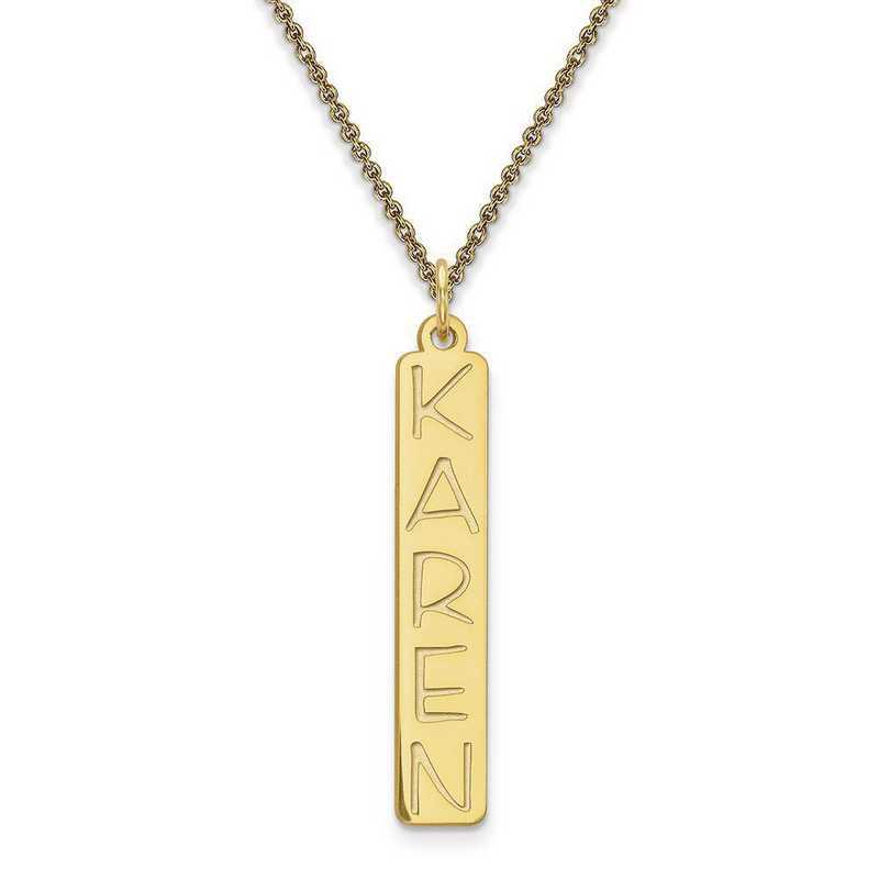10XNA99Y: 10 Karat Yellow Gold Vertical Name Plate