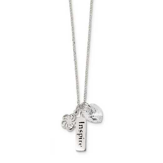 QG4325-18: Sterling Silver Enaml Swarovski Inspire Heart Charm Necklace