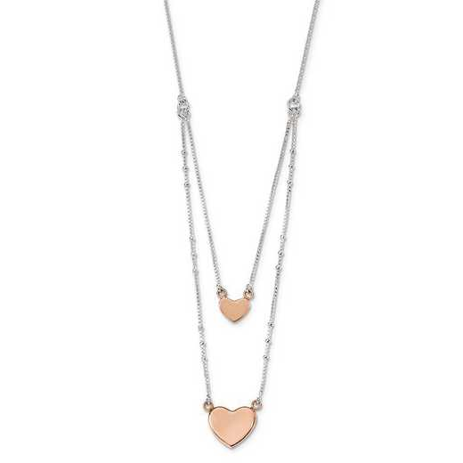 QG4366-18: Sterling Silver Rose-tone Double Heart 18in Necklace