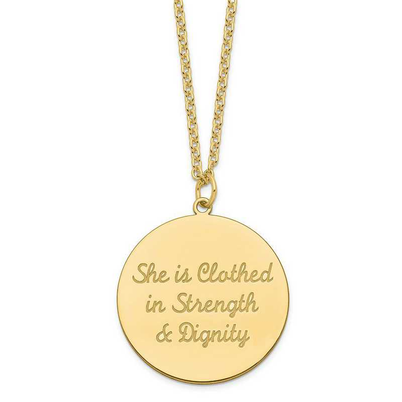 QM375G-27B: SS GP Polish She Is Clothed In Strength & Dignity Disc Charm