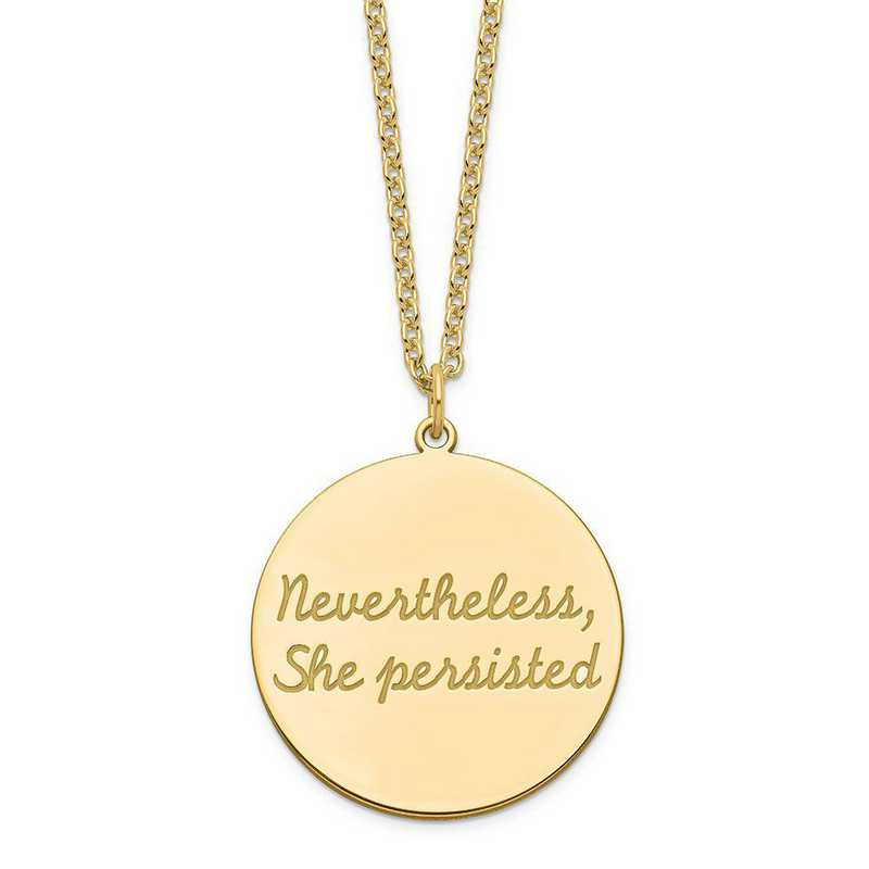 QM375G-35B: SS GP Polished Nevertheless-She Persisted Round Disc Charm