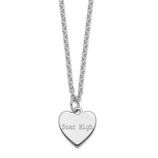QM390-27A: SS Rhodium-Plated Polished & Satin Soar High Heart Charm