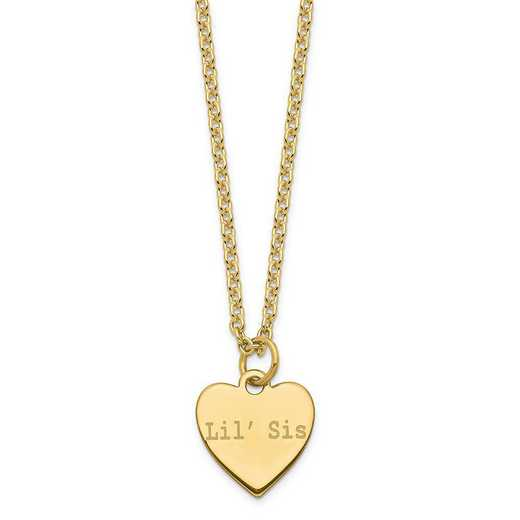 QM390G-18A: SS Gold-Plated Polished Lil' Sis/Big Sis Heart Charm