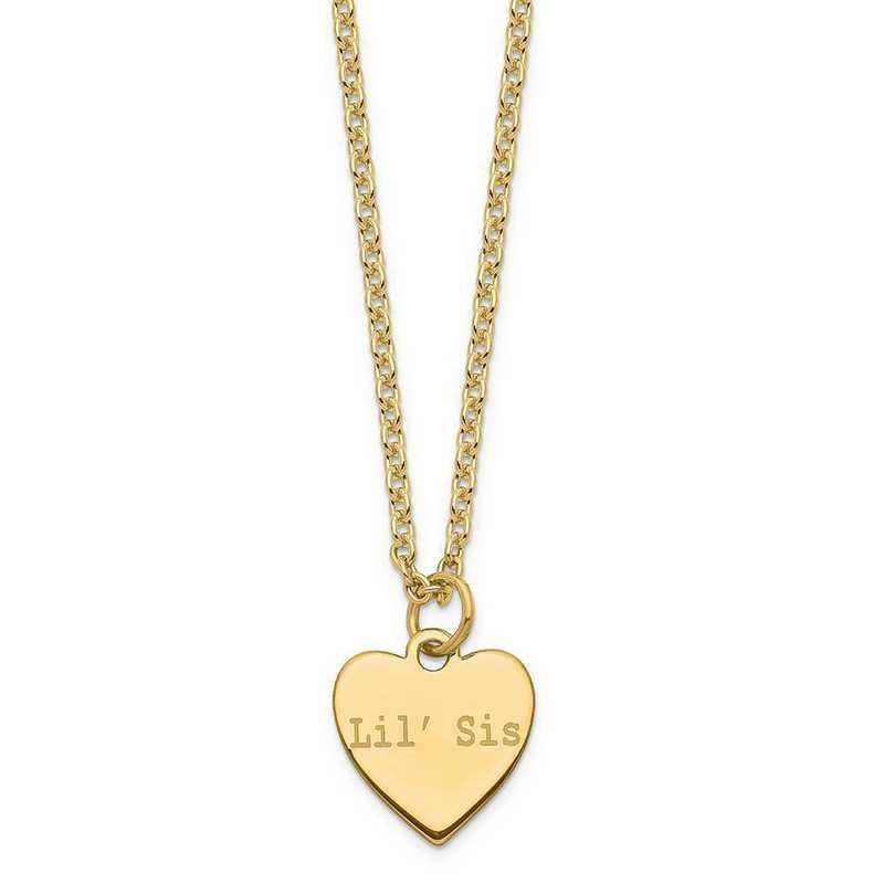 QM390G-18A: SS Gold-Plated Polished Lil' Sis/Big Sis Heart Charm