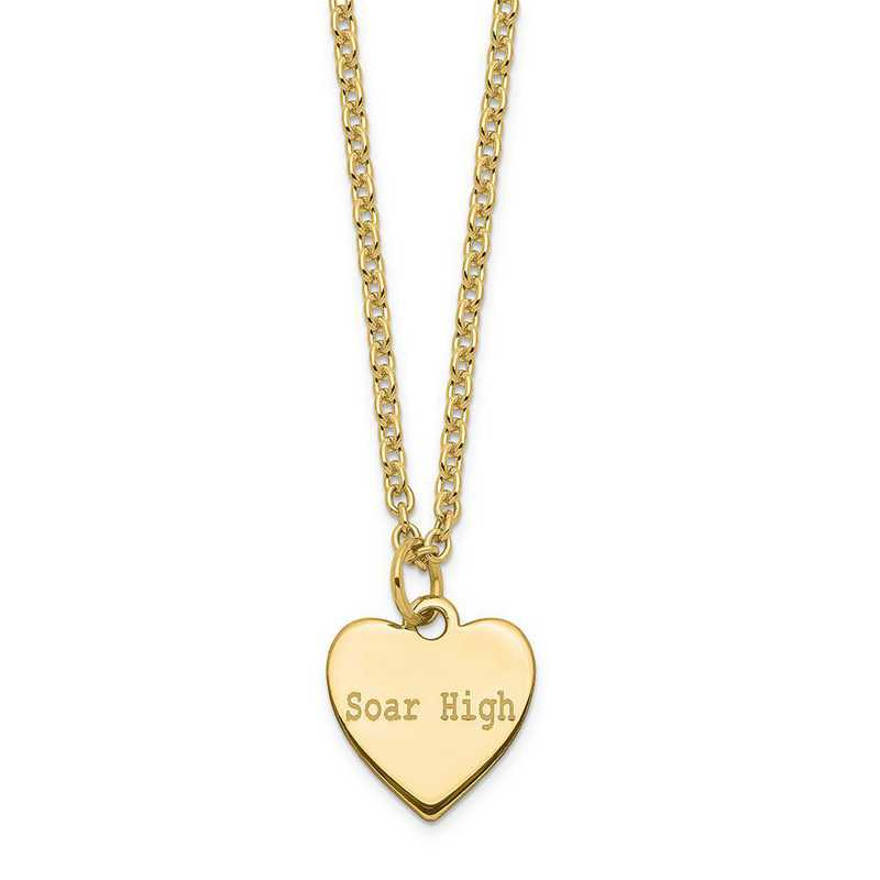 QM390G-27A: Sterling Silver Gold-Plated Polished Soar High Heart Charm
