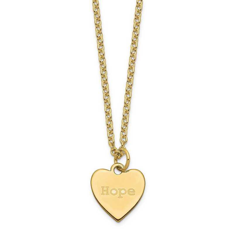 QM390G-27B: Sterling Silver Gold-Plated Polished Hope Heart Charm