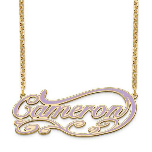 XNA1019GP: Gold Plated Sterling Silver Epoxied Fancy Swirl Name Plate