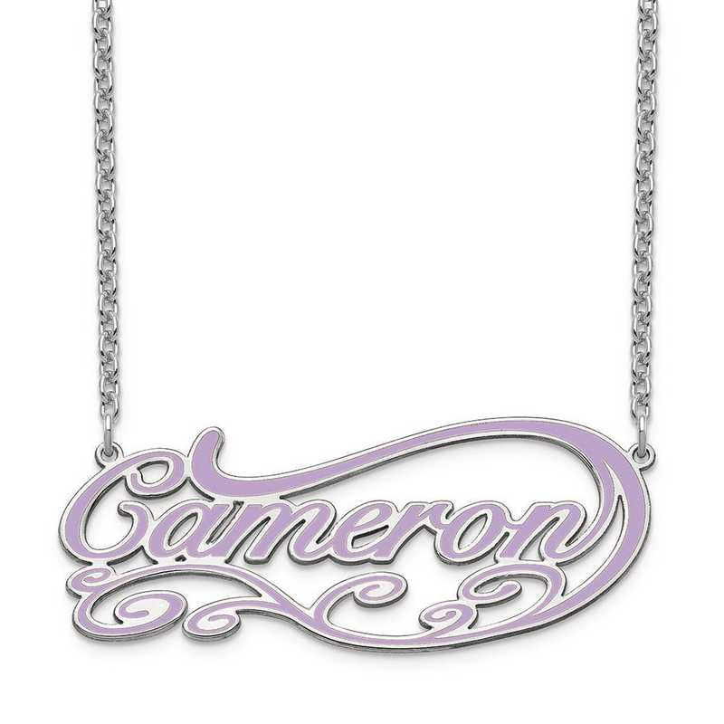 XNA1019SS: Sterling Silver Epoxied Fancy Swirl Name Plate