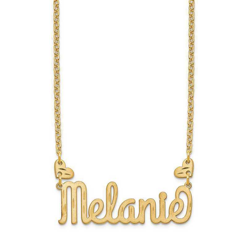 XNA1036GP: Gold Plated SS Heart Name Plate Necklace with Hearts