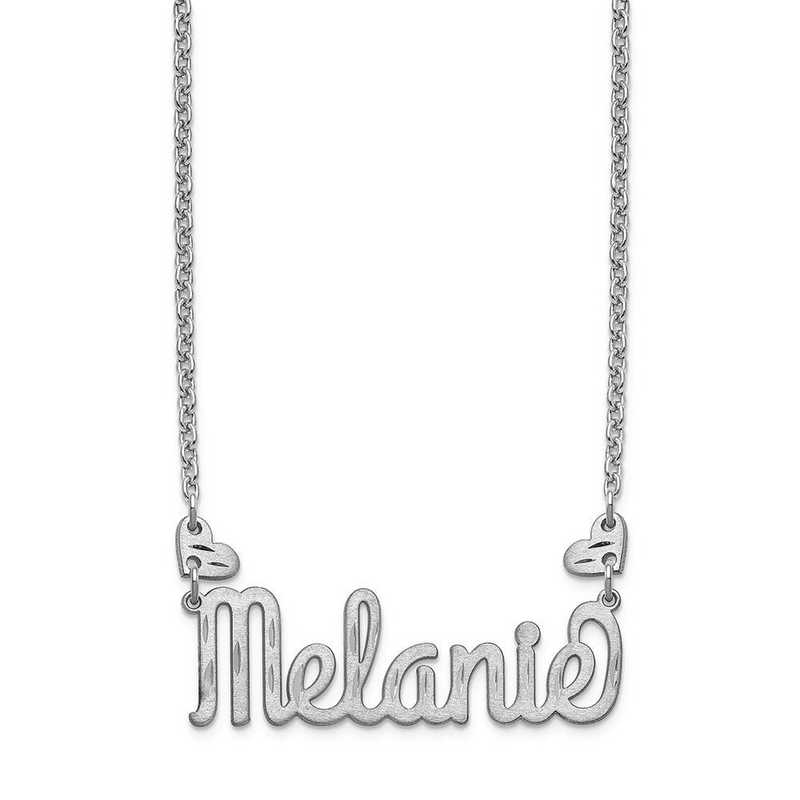 XNA1036SS: Sterling Silver Heart Name Plate Necklace with Hearts