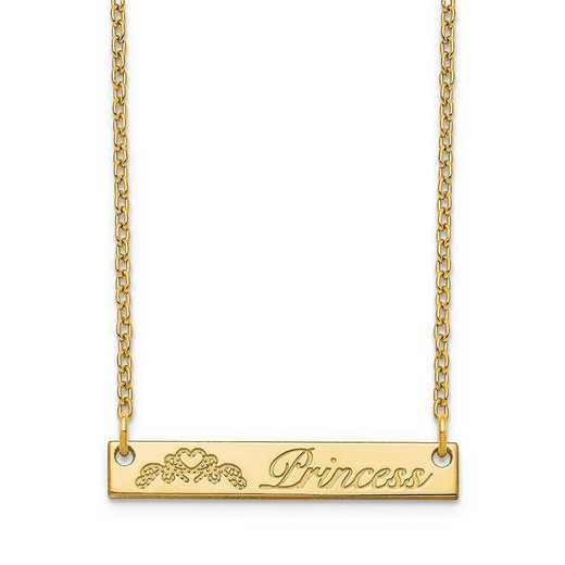 XNA1040GP: Gold Plated Sterling Silver Customized Bar Necklace