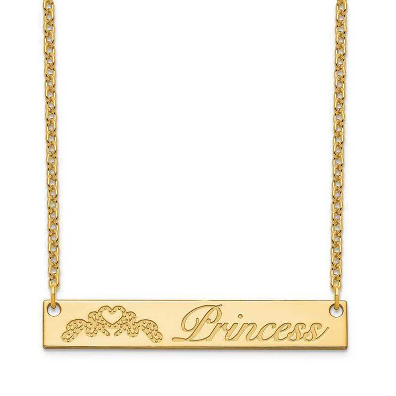 XNA1041GP: Gold Plated Sterling Silver Customized Bar Necklace
