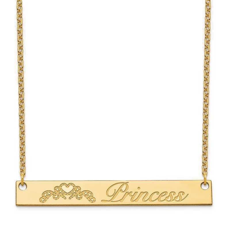 XNA1042GP: Gold Plated Sterling Silver Customized Bar Necklace