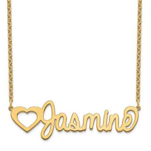 XNA1051GP: Gold Plated Sterling Silver Customized Name Plate Necklace