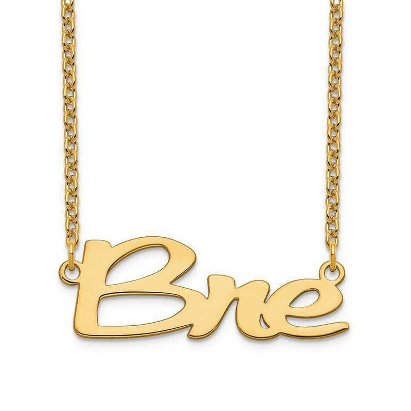 XNA1069GP: Gold Plated Sterling Silver Short Veilchin Name Plate Neck