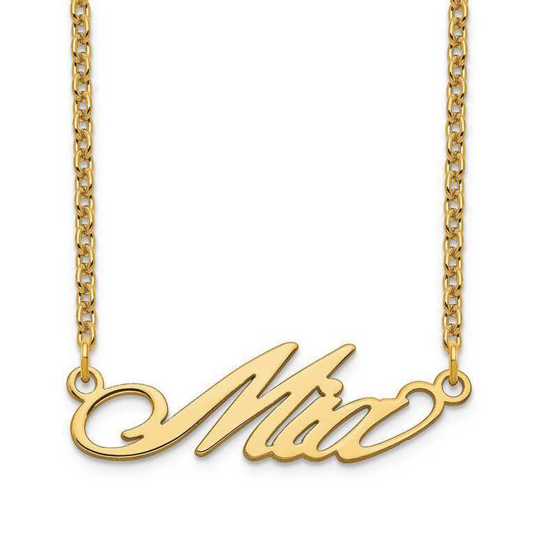 XNA1070GP: Gold Plated Sterling Silver Short Surrey Name Plate Necklace