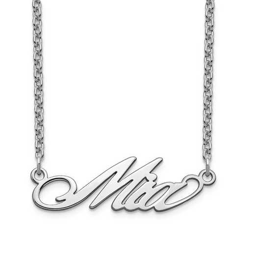 XNA1070SS: Sterling Silver Short Surrey Name Plate Necklace