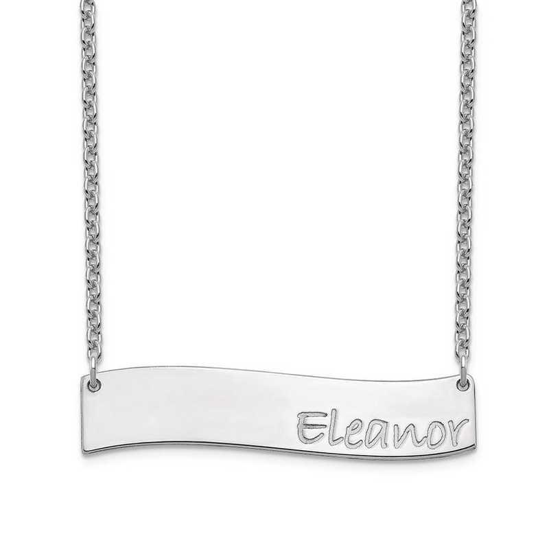 XNA1073SS: Sterling Silver Medium Wavy Bar Necklace