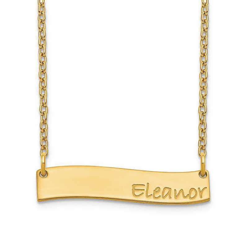 XNA1074GP: Gold Plated Sterling Silver Small Wavy Bar Necklace