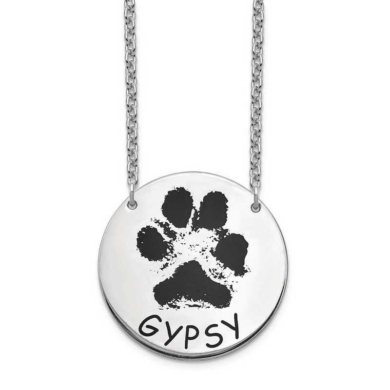 XNA1078SS: Sterling Silver Large Paw Necklace