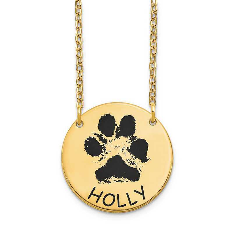 XNA1079GP: Sterling Silver Gold Plated Small Paw Necklace