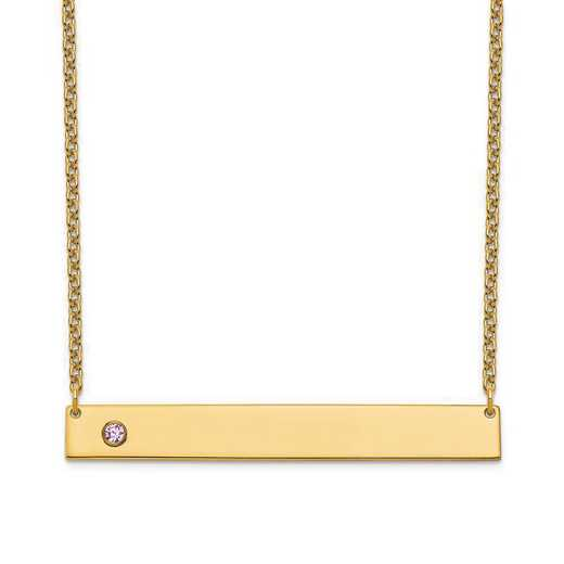 Personalized Gold Plated Sterling Silver 1 Crystal Birthstone Large Bar Name Necklace