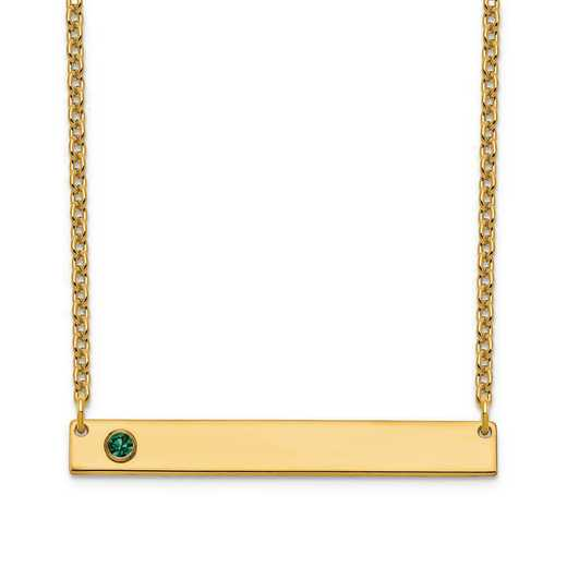 Personalized Gold Plated Sterling Silver 1 Crystal Birthstone Medium Bar Name Necklace