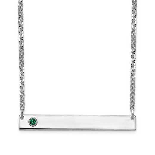 Personalized Sterling Silver 1 Crystal Birthstone Medium Bar Name Necklace