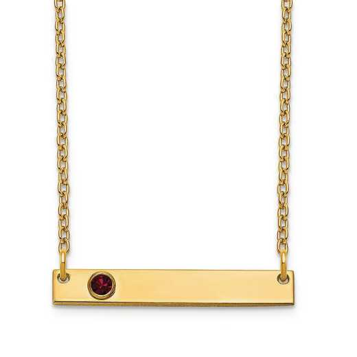 Personalized Gold Plated Sterling Silver 1 Crystal Birthstone Small Bar Name Necklace