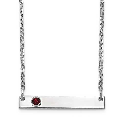 Personalized Sterling Silver 1 Crystal Birthstone Small Bar Name Necklace