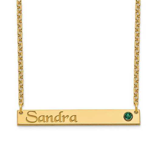 Personalized Gold Plated Sterling Silver Bar Name Necklace with Birthstone