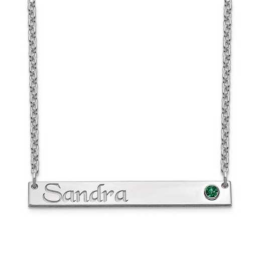 Personalized Sterling Silver Bar Name Necklace with Birthstone