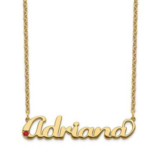 Personalized Sterling Silver Gold Plated Crystal Birthstone Name Plate Necklace