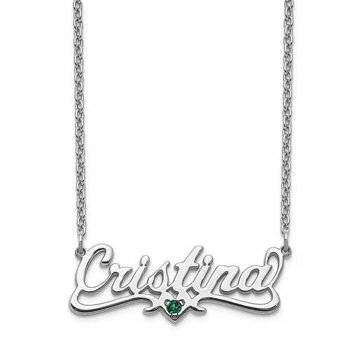 Personalized Sterling Silver Crystal Birthstone Name Plate Necklace