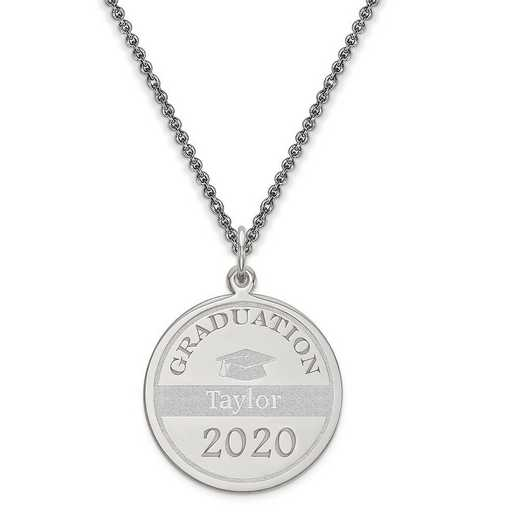 XNA363W-PEN74-18: Personalized 14k White Gold Personalized Graduation Charm