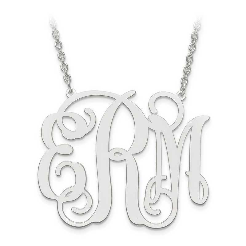 XNA502SS: SS Rhodium-plated .027 Gauge Monogram Plate with chain
