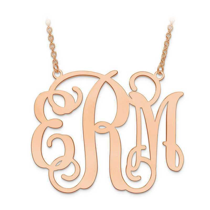 XNA503RP: Rose Plated SS .027 Gauge Monogram Plate with chain