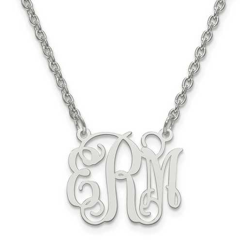 XNA528SS: SS Rhodium-plated Laser High Polished Monogram Plate