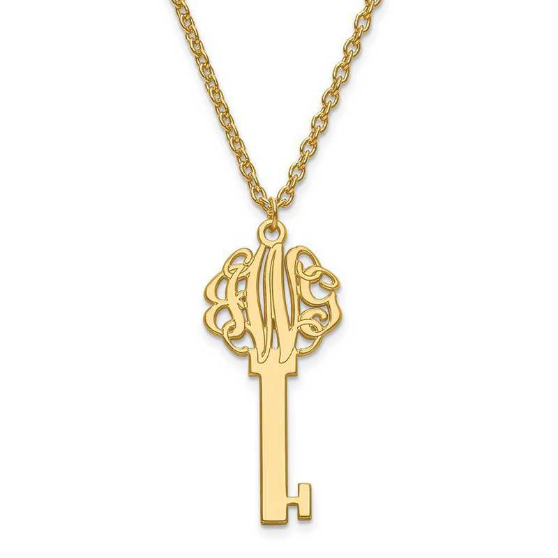 XNA557GP: Gold Plated Laser Polished Key Monogram Pendant with Chain