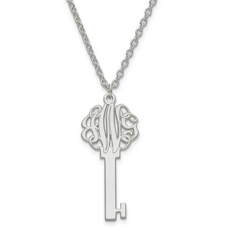XNA557SS: SS Rh-plt Laser Polished Key Monogram Pendant with Chain