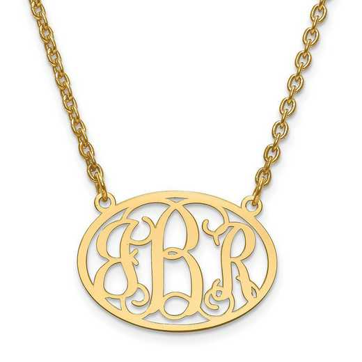 XNA577GP: GP/SS Small Laser Polished Oval Monogram Plate w/ Chain
