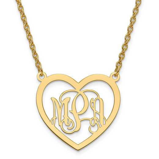 XNA595GP: GP/SS Small Laser Polished Heart Plate Monogram w/ Chain