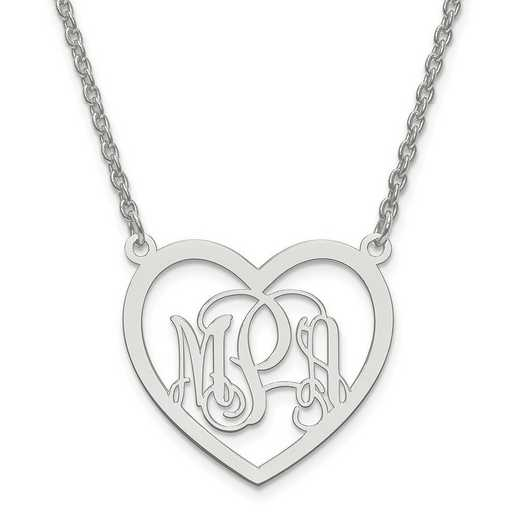 XNA595SS: SS Rh-plt Small Laser Polished Heart Plate Monogram w/ Chain