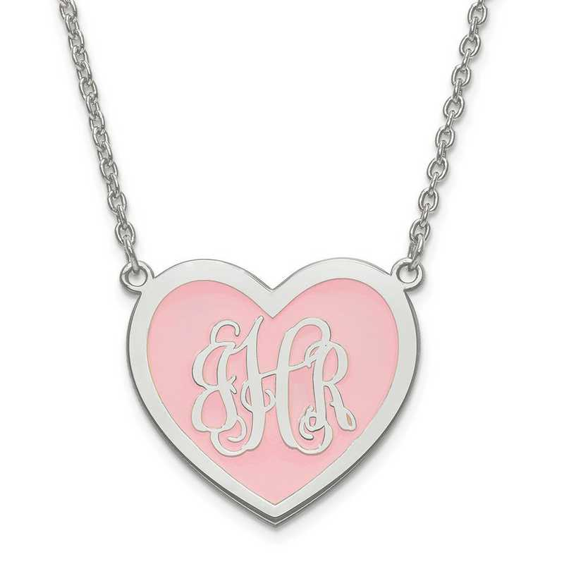 XNA599SS: Personalized SS Small Enamel Heart Monogram Plate with Chain