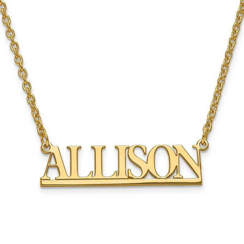 XNA629GP: Gold Plated/SS Small Laser Polished Nameplate with Chain