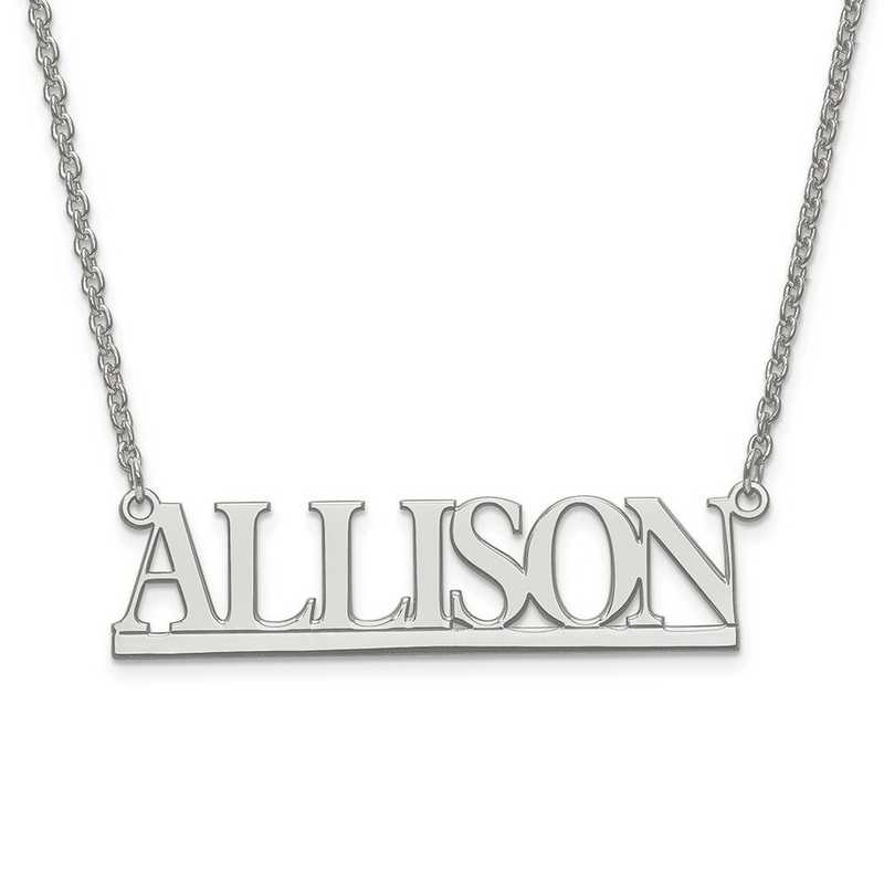 XNA630SS: S Silver Rhodium-plated Laser Polished Name plate w/ Chain