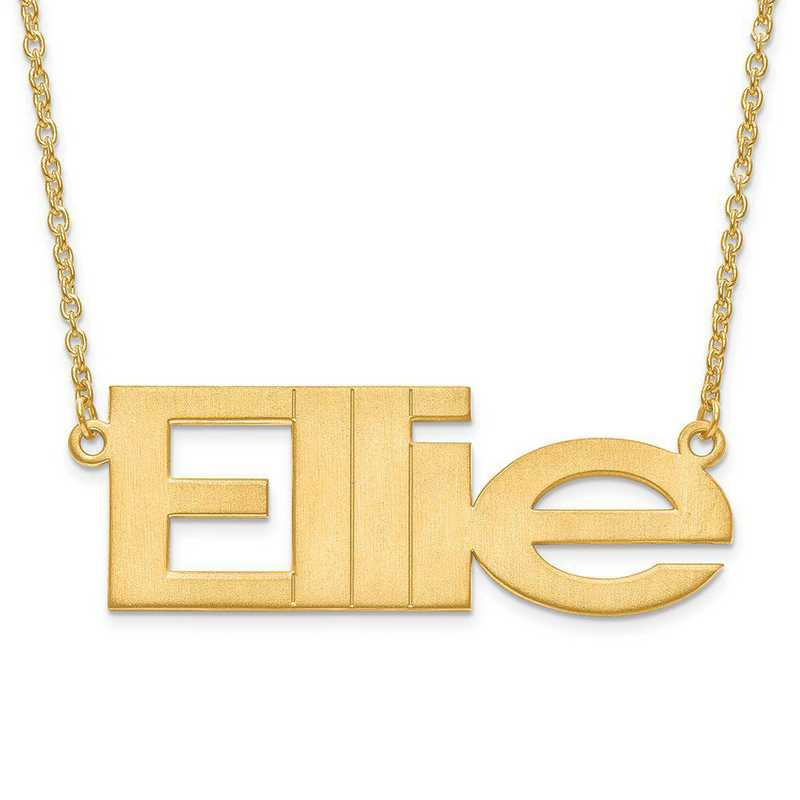 XNA633GP: Gold Plated/S Silver Brushed Laser Nameplate with Chain
